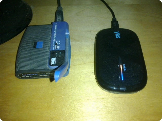 the tag team - linksys wifi adapter and yes huddle